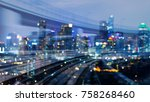 moving motion burred train... | Shutterstock . vector #758268460
