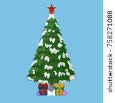 christmas tree with gifts and...   Shutterstock .eps vector #758271088