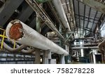 abandoned factory with large... | Shutterstock . vector #758278228