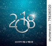 happy new year greeting card... | Shutterstock .eps vector #758280520