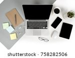 flat lay photo of office table... | Shutterstock . vector #758282506