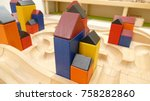 colorful wooden blocks house ... | Shutterstock . vector #758282860