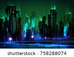 night city background  with... | Shutterstock .eps vector #758288074