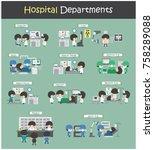 set of hospital departments  ... | Shutterstock .eps vector #758289088