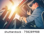 trucker preparing for trip.... | Shutterstock . vector #758289988