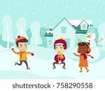 multicultural children playing... | Shutterstock .eps vector #758290558