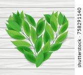 heart from green leaves on... | Shutterstock .eps vector #758291140