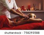 spa treatment. back massage... | Shutterstock . vector #758293588