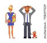 family with dad  mom or baby... | Shutterstock .eps vector #758297029