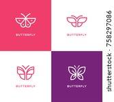 Stock vector four mono line butterfly logo set beauty salon spa center cosmetics design concept 758297086