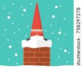 little santa claus in chimney.... | Shutterstock .eps vector #758297278