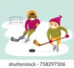 two teenage african american... | Shutterstock .eps vector #758297506