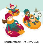 multiethnic family sliding down ... | Shutterstock .eps vector #758297968