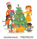 young happy multiethnic family... | Shutterstock .eps vector #758298154