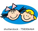 portrait of girl and boy  blue... | Shutterstock .eps vector #758306464