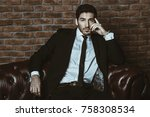 portrait of a sexy handsome man ... | Shutterstock . vector #758308534