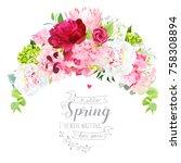 blooming bouquet floral vector... | Shutterstock .eps vector #758308894