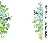 vertical sides botanical vector ... | Shutterstock .eps vector #758308903