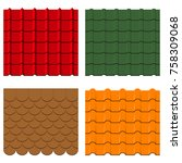roof tiles set. collection of... | Shutterstock .eps vector #758309068