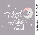 sweet night moon star | Shutterstock .eps vector #758310829