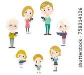 family 3 generations internet... | Shutterstock .eps vector #758314126