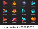 modern minimal vector logo for... | Shutterstock .eps vector #758315098