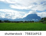 rice field with mountain view... | Shutterstock . vector #758316913