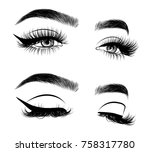 hand drawn woman's sexy... | Shutterstock .eps vector #758317780