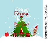 christmas greeting card with... | Shutterstock .eps vector #758320663