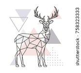 scandinavian deer  side view....   Shutterstock .eps vector #758323333