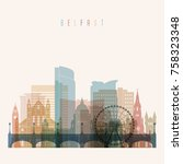 belfast skyline detailed... | Shutterstock .eps vector #758323348