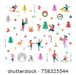 new year pattern of happy... | Shutterstock .eps vector #758325544