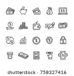 money finance symbols and signs ... | Shutterstock .eps vector #758327416