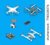 drones and equipment technology ... | Shutterstock .eps vector #758328376