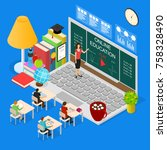 online education concept 3d... | Shutterstock .eps vector #758328490