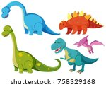 five types of dinosaurs on... | Shutterstock .eps vector #758329168