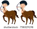 centaur with bow and arrows... | Shutterstock .eps vector #758329198