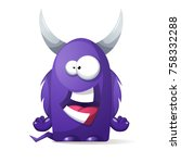 terrible  cute monster  ... | Shutterstock .eps vector #758332288