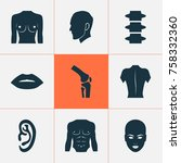 body icons set with listen ... | Shutterstock .eps vector #758332360
