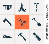repair icons set with screw ...