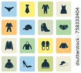 dress icons set with female... | Shutterstock .eps vector #758333404