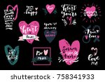 set of love quotes with hearts. ... | Shutterstock .eps vector #758341933