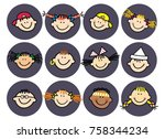 head of kids  isolated portrait ... | Shutterstock .eps vector #758344234
