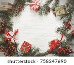christmas gift  knitted blanket ... | Shutterstock . vector #758347690