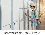 young travel woman using the... | Shutterstock . vector #758347984