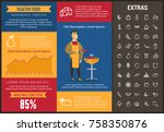 healthy food infographic... | Shutterstock .eps vector #758350876