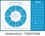 healthy food infographic... | Shutterstock .eps vector #758351068