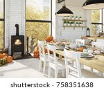cosy nordic kitchen in an... | Shutterstock . vector #758351638