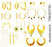 earring clasps types golden | Shutterstock .eps vector #758353750