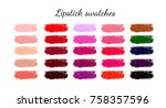 set of various lipstick smears. ... | Shutterstock . vector #758357596